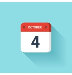 October 4 Isometric Calendar Icon With Shadow vector image