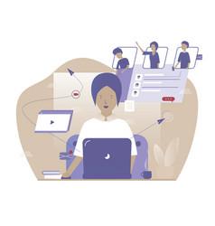 online work conference distance job web vector image