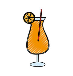 Orange juice cocktail icon vector