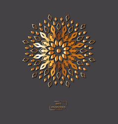 Ornamental golden flower mandala on grey color vector
