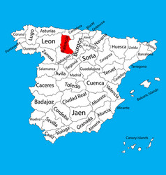 Palencia map spain province administrative map vector
