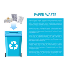 Paper waste poster with info vector
