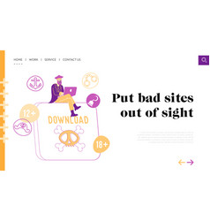 Pirates internet content download landing page vector