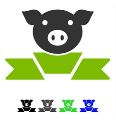 Pork award ribbon flat icon vector
