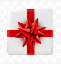 present blue box with golden ribbon on transparent vector image