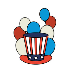 President day hat with usa flag and balloons vector