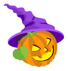 pumpkin with leafs and hat isolated on whit vector image
