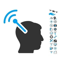 Radio Neural Interface Icon With Copter Tools vector