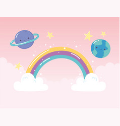 rainbow earth saturn planets stars with clouds vector image
