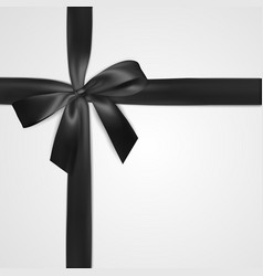 realistic black bow with ribbon isolated on white vector image