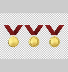 Realistic golden award medals icon set vector