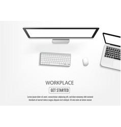 realistic workplace desktop top view desk table vector image