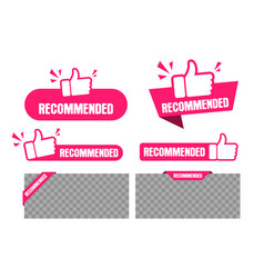 recommended banner and labels set paper tag vector image