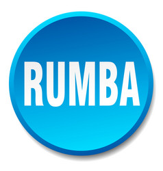 Rumba blue round flat isolated push button vector