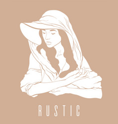 rustic hand drawn girl in hat and vector image