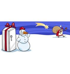 Santa Claus and snowman cartoon card vector image vector image