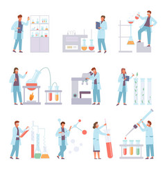 scientists biochemical conduct laboratory vector image