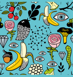 seamless colorful pattern with black head bird and vector image