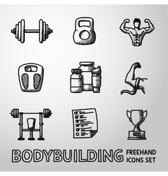 Set bodybuilding freehand icons with - dumbbell vector