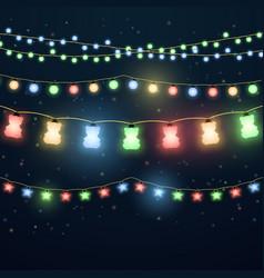 set colorful light garlands vector image