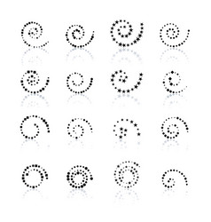 Set dotted spirals vector