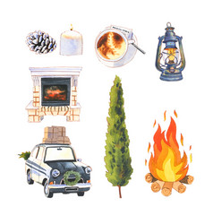 Set watercolor fireplace lantern car vector