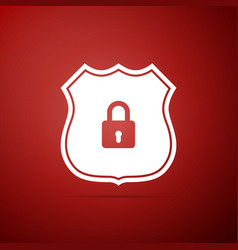 shield security icon isolated on red background vector image