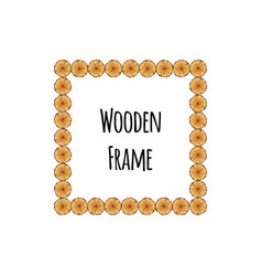 Square wooden frame of tree circle logs isolated vector