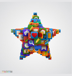 Star made of many application icons vector