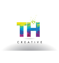Th t h colorful letter origami triangles design vector