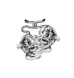 tiger in thai tradition stylethai tattoo vector image