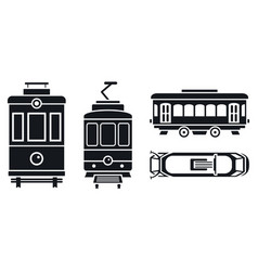 Tram car icon set simple style vector