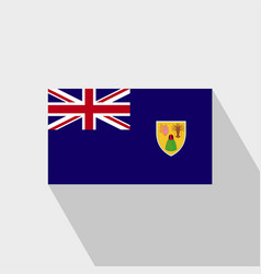 Turks and caicos islands flag long shadow design vector