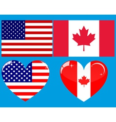 Two flags and two hearts vector