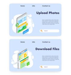 upload photos website landing page template vector image