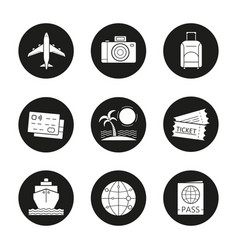 vacation and travel icons set vector image
