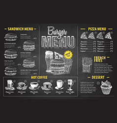 Vintage chalk drawing burger menu design fast vector