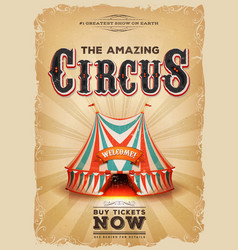 Vintage old circus poster with red and blue big vector