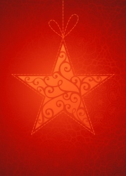 Vintage star on red background vector image