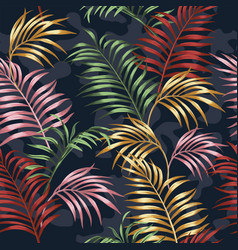 vivid color tropical leaves seamless camo vector image