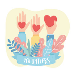 volunteering help charity raised hands with vector image