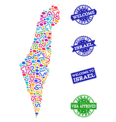Welcome collage of mosaic map of israel and vector