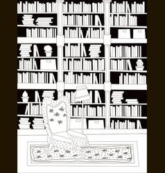cartoon flat interior library room coloring vector image