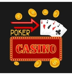 Casino gambling background or flyer with game vector image vector image
