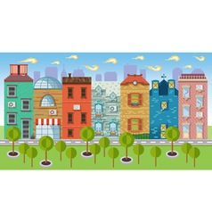 Color urban landscapes and downtown vector