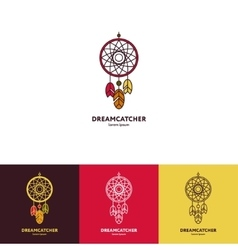 Dreamcatcher logo with feathers and beads vector