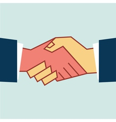 Flat Handshake Icon Business vector image