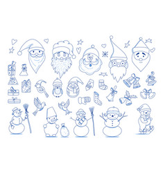 funny cartoon christmas collection element vector image