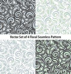 seamless patterns set floral grey vector image vector image