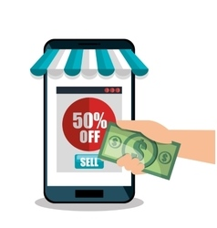 Smartphone shopping e-commerce discount isolated vector